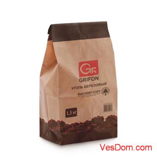 Уголь березовый GRIFON 1,5 кг крафт-пакет /1