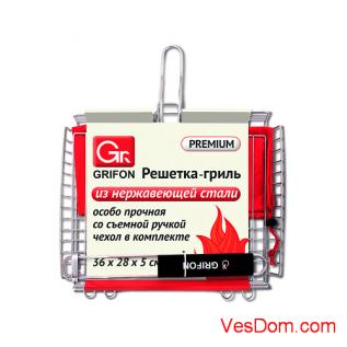 Решетка GRIFON Premium Гриль Гл. 36 x 28 x 5 см, с чехл., нерж. 2 мм /10/1