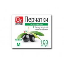 Перчатки полиэтиленовые GRIFON, р-р М, 100 шт. в конверте /50/1