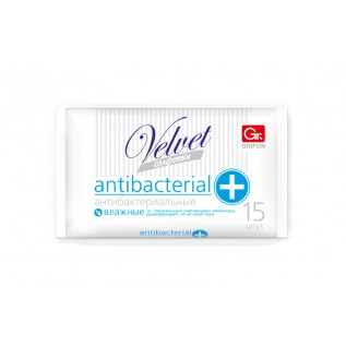 Салфетки влажные GRIFON Velvet антибактериальные, 15 штук в упаковке /45/1