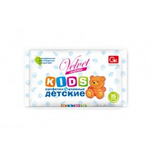 Салфетки влажные GRIFON Velvet детские, 15 штук в упаковке /45/1