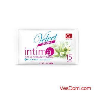 Салфетки влажные GRIFON Velvet для интимной гигиены, 15 штук в уп. /55/1