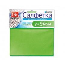 Салфетка из микрофибры GRIFON для стекла 30 х 30 см, 1шт. в уп. 200/20/1