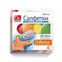 Набор салфеток из микрофибры GRIFON 30 х 30 см, 4 шт. в уп. 60/1