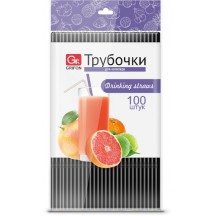 Трубочки для напитков гофр черные GRIFON,100 шт. в п/эт.уп.,21 см/60/1