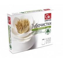 Зубочистки  из дерева, GRIFON 500 шт б/индивидуальной упаковки