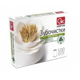 Зубочистки  из дерева, GRIFON 500 шт б/индивидуальной упаковки  /72/12/1