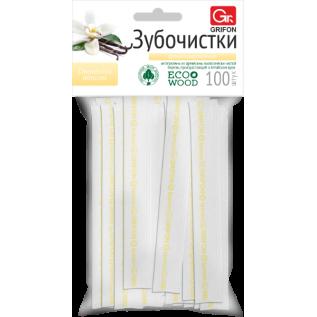 Зубочистки из дерева GRIFON ваниль в инд.бум.упак.с печатью 100шт/72/6/12/1