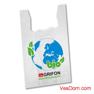Пакет-майка GRIFON BIO Береги планету (28x50см, 14мкм), 50 шт. в упак./20/1