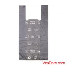 Пакет-майка черная с печатью (30x60см, 17мкм), 100 шт. в упак./10/1