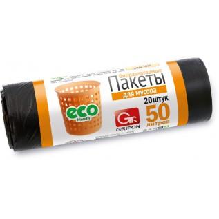 Пакеты для мусора GRIFON 50 л (10 мкм) ПНД черные, 20 шт в рулоне /40/1