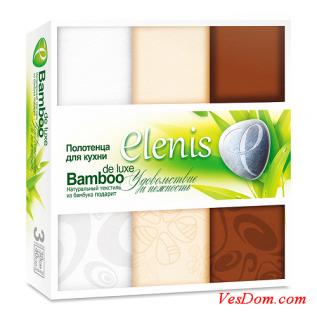 Набор полотенец для кухни ТМ ELENIS, 3 штуки в упак., бел./беж./шок., 32/1